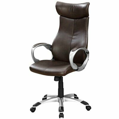 Monarch Faux Leather Swivel Executive Office Chair In Brown And Silver