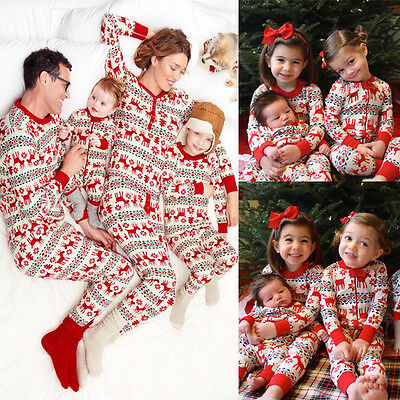 XMAS Kids Baby Adult Family Pajamas Set Deer Sleepwear Nightwear Pyjamas Gift