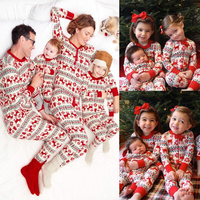 XMAS Kids Baby Adult Family Pajamas Set Deer Sleepwear Nightwear Pyjamas Gift
