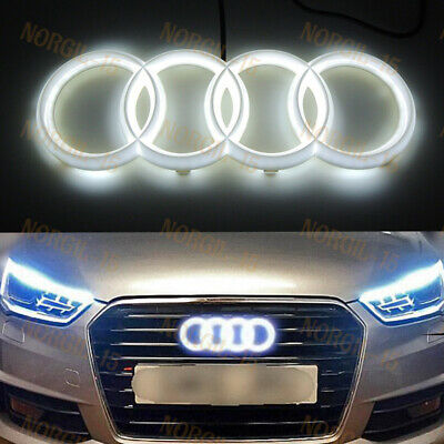 White Audi Chrome Grill Grille Front Hood A1 A3 A4 A5 A6 A7 Q3 Q5 Q7 LED Emblem