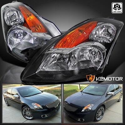 Fits 2007-2009 Nissan Altima 4DR Sedan JDM Black Headlights Left+Right