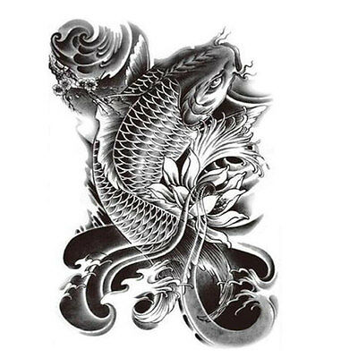 - Koi Fish Tattoo Large Temporary Tattoo - Fish tattoo - Black tattoo Arm tattoo