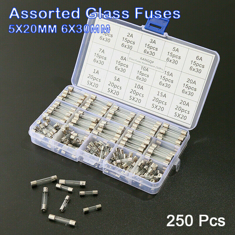 250x Assorted Glass Fuses 5x20mm 6x30mm Box Fuse Quick Blow Fast Acting Tube Kit