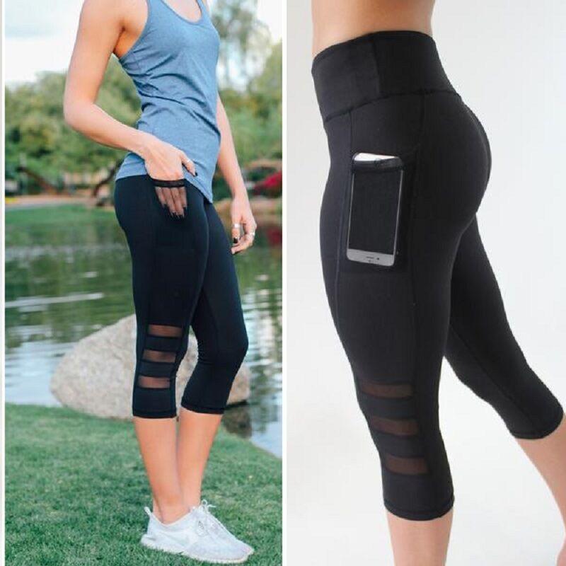 Leggings - NEW Women Sports Yoga Workout Gym Fitness Mesh Leggings Pants Athletic Pant S757