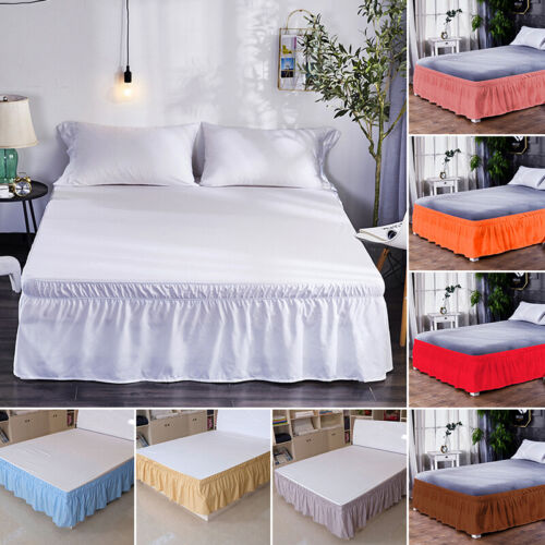 """16"""" Solid Elastic Bed Skirt Dust Ruffle Wrap Around Twin Que"""