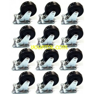 12 Pcs Swivel Caster Wheels 2 Rubber Base With Top Plate Bearing Heavy Duty