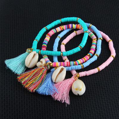 Women's Bohemian Beach Sea Shell Tassel Rubber Stretchable Bracelet Jewelry (Rubber Bracelet)