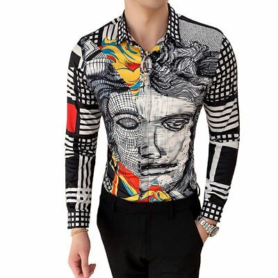 19 Versace type look Boutique Print Slim Fit Mens Long-sleeved Shirt Luxurious