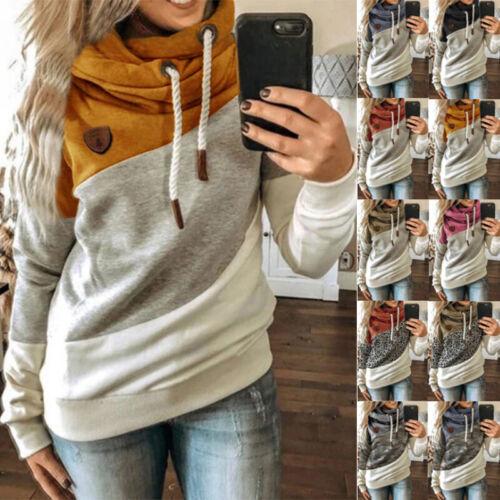 Women Long Sleeve Leopard Hoodie Jumper Sweater T Shirt Casual Sweatshirt Tops Activewear
