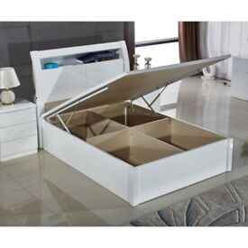 BRAND NEW HIGH GLOSS WOODEN SINGLE / DOUBLE / KING SIZE OTTOMAN STORAGE BED FRAME WITH LED LIGHT
