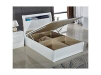 BRAND NEW ULTRA HIGH GLOSS DOUBLE / KINGSIZE OTTOMAN WOODEN STORAGE BED FRAME WITH GAS LIFT UP