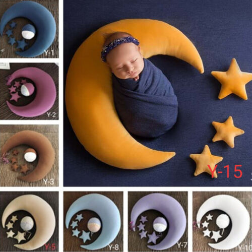 Newborn Photography Prop Baby Moon Stars Pillow Hat Backdrop Photo Background