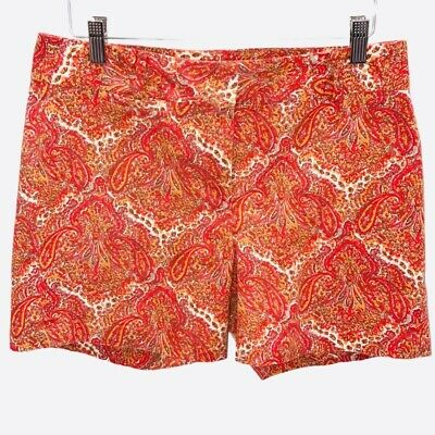 Talbots Womens Chino Shorts Orange Paisley Flat Front Mid Rise Stretch Pockets 6