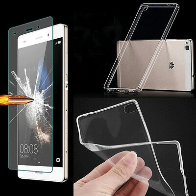 Tempered Glass / Ultra Thin Clear TPU Soft back Case Cover Skin For Cell Phones