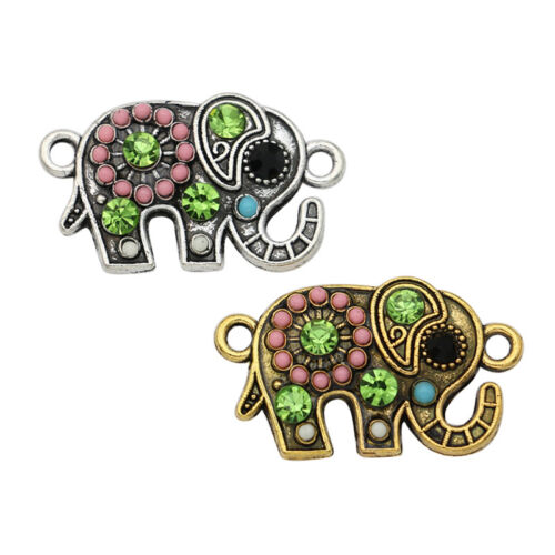 10PCS Crystal Elephant Charm Connector Jewelry Making Bracelet Accessories