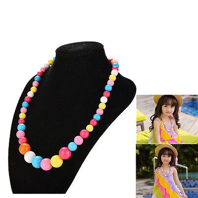Große bunte Perlenkette für Mädchen Kind Schmuck Party Pullover Zubehör UE