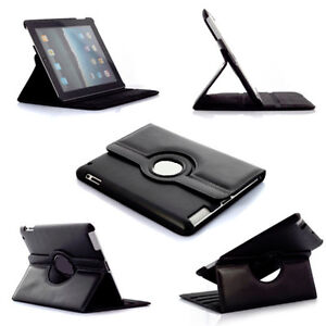 iPads 2,3,4 Black 360° Rotating PU Leather Case with Sleep/Wake