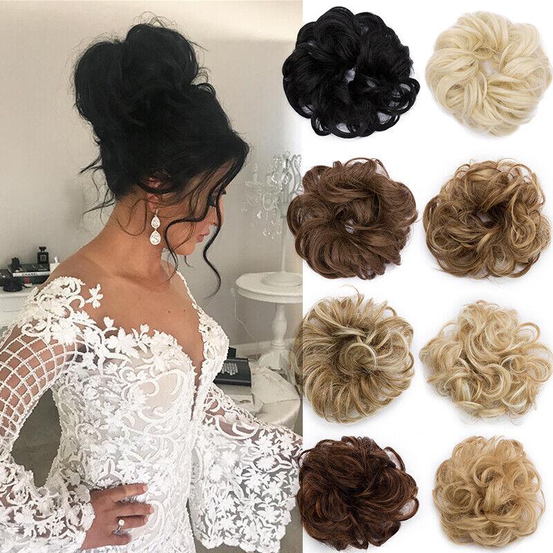 Haargummi Hepburn Dutt Haarverlängerung Lockig Damen Bun Haarteil Natürlich Zopf