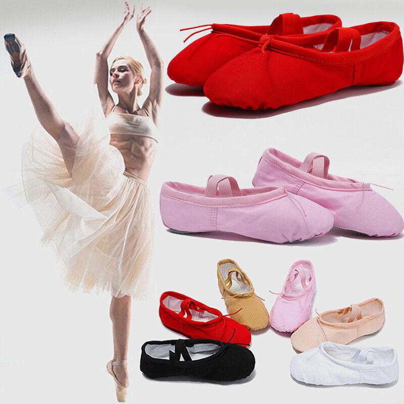 Mädchen Junge Ballett Gymnastik Schuhe Bauchtanz Schläppchen Ballettschuhe