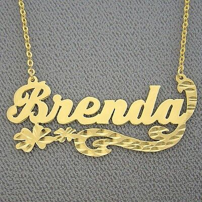 10K Solid Gold Custom Made Personalized Name Necklace Flower Diamond Cut Jewelry ()