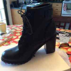 Brand new/never worn black zip/lace up boots $25 St. John's Newfoundland image 1