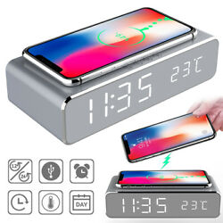 USB Digital LED Desk Alarm Clock with Thermometer Wireless Charger FOR PHONE ZE