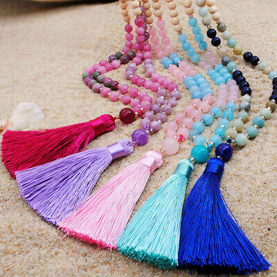 Women's Boho Bohemian Beaded Tassel Pendant Necklace Long Sweater Chain Jewelry