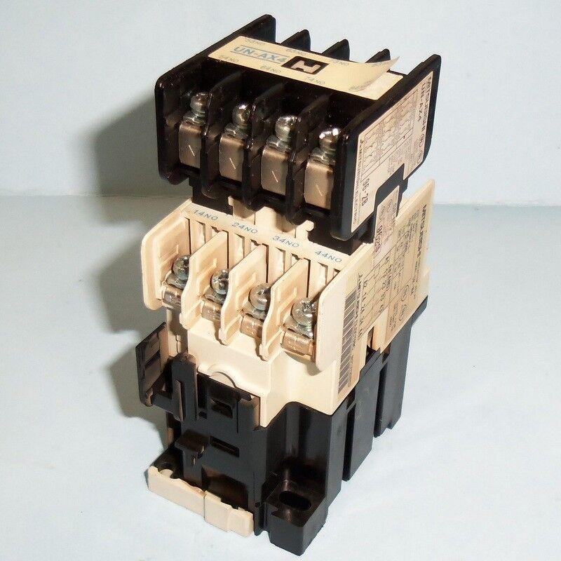 MITSUBISHI ELECTRIC 110-120VAC COIL 16A CONTACTOR RELAY SR-N4 W/ UN-AX4 *PZF*