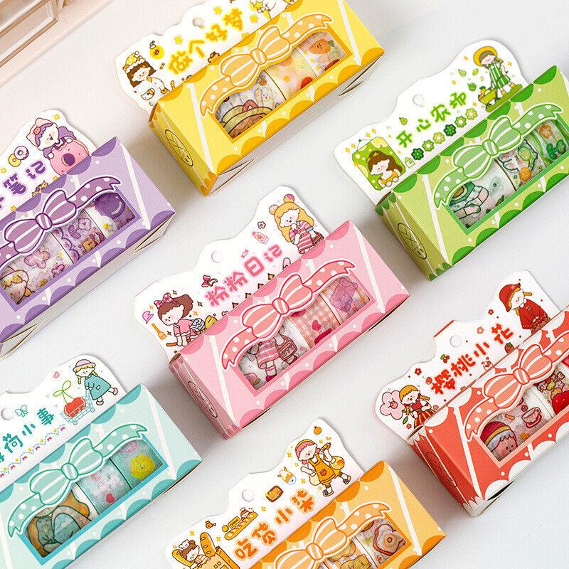 5 Rolls Kawaii Girls Daily Life Washi Masking Tape Journal Scrapbok Stickers DIY