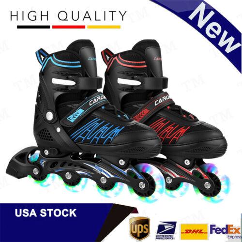 Adjustable Inline Skates Outdoor Roller Blades w/ LED Wheels for Girls Boys Gift