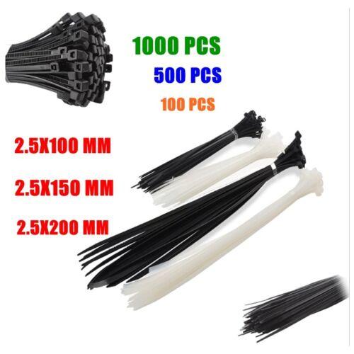 200x CABLE TIES 2.5x100mm Nylon Plastic Electrical Zip Tie Wrap Management Loop,