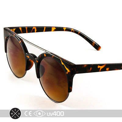 Round Metal Bridge Bar Classic Classy Sunglasses Glasses Tortoise (Round Metal Bar)