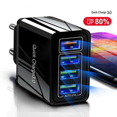 4 Port Fast Quick Charge QC3.0 USB Hub Wall Charger Power Adapter US EU Plug #LY Usb Power Plug