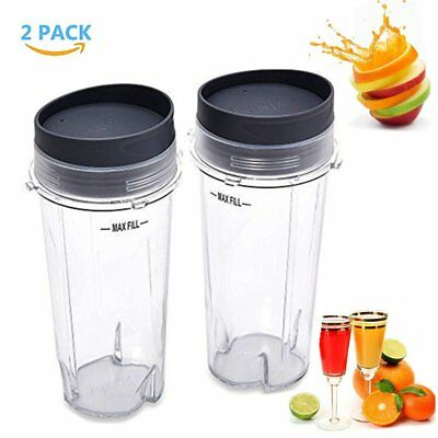 Ninja Cups (2 Cup 16oz Single Serve to go Cups with Lids For Ninja Blender BL770 BL780)