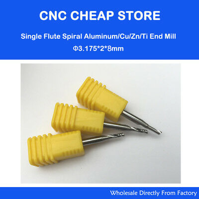 5pcs Aluminium Cutting Single Flute Cnc Router Endmill Bits 3.175mm 2mm 8mm
