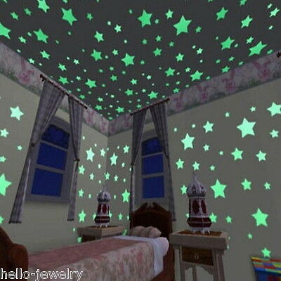 US 3D 1Pack Glow In The Dark Stars Moon Stickers Kids Bedroom Wall DIY Decor GS