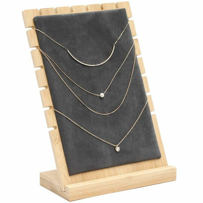 Bamboo and Velvet Necklace Jewelry Tabletop Display Board, 9.75 x 6.6 x 0.3 inch