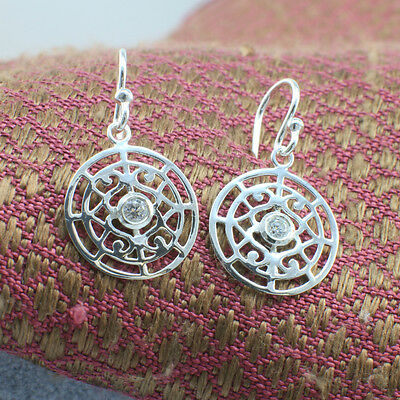 925 Sterling Silver Filigree Crystal Circle Spiral Dangling Earrings