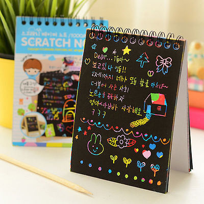 Paper Scratch Book Stationery Notebook Journal Notes Wooden Stylus For Children