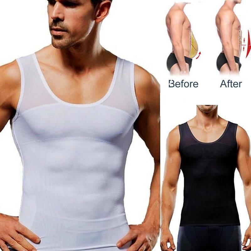 Mens Posture Corrector Vest Back Support Shirt Abdominal Tum
