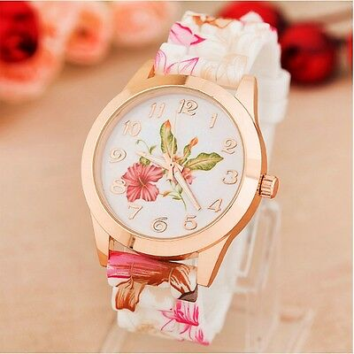 Fashion Women Watches Rose Flower Print Silicone Dress Quartz Analog Watches