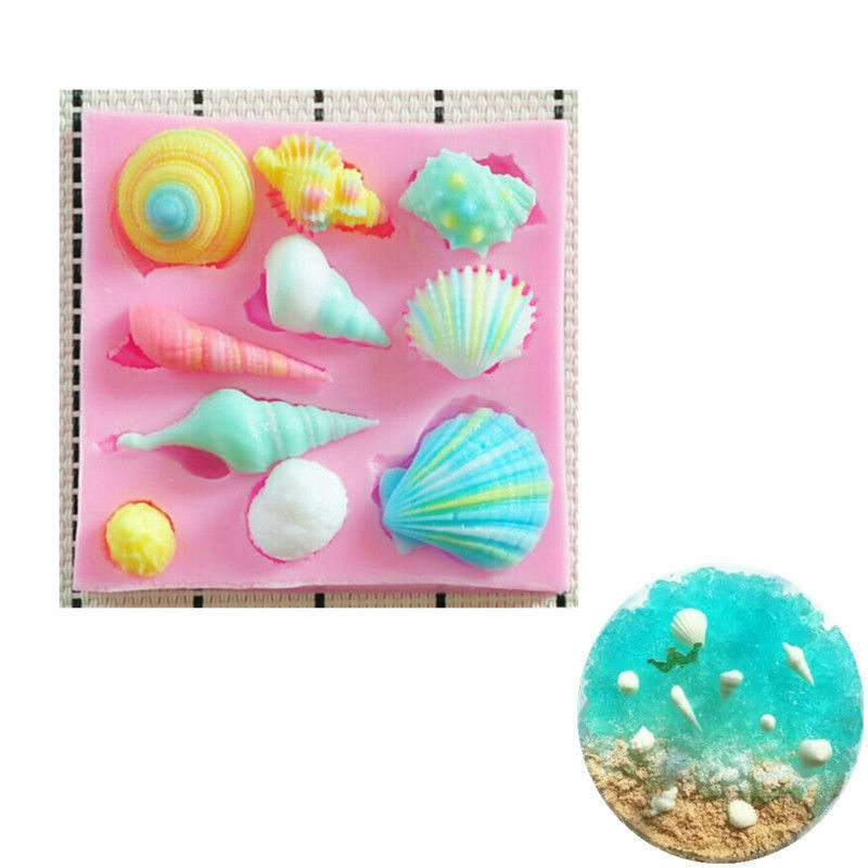 1Pcs Silicone Fondant Mold Sea Beach DIY Cake Chocolate Decoration Baking Tools