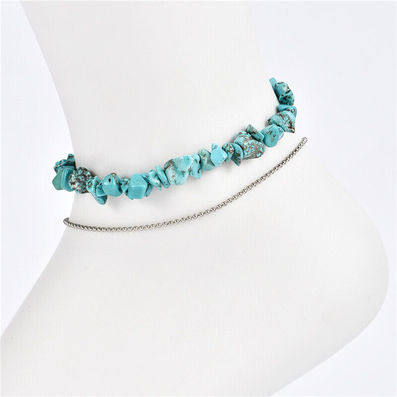Fashion Turquoise Beads Lucky Charm Anklet Ankle Bracelet Beach Hot Sale 6L