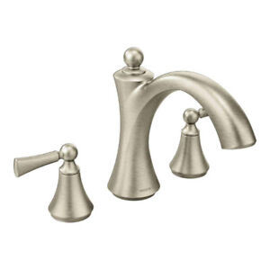 Wynford Brushed nickel two-handle non diverter roman tub faucet