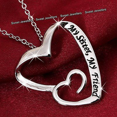 BLACK FRIDAY DEALS Silver Hearts Sister Best Friend Necklace Xmas Gifts For