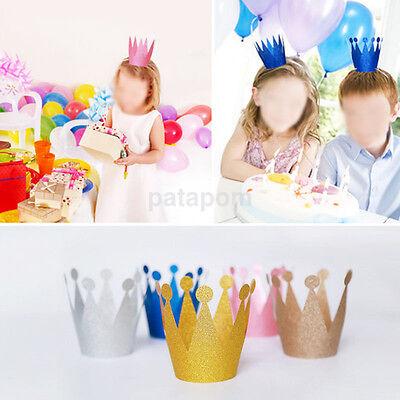 6Pcs Glitter Little Prince Princess Crown Hats Birthday Party Baby Shower - Little Prince Baby Shower Decorations