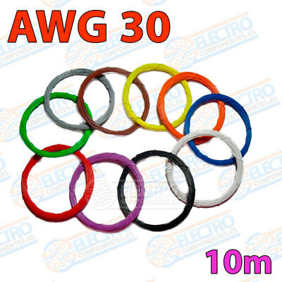 10m AWG30 Cable Hilo WRAPPING WIRE varios colores electronica pcb soldar