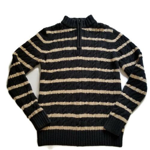Hanna Andersson 160 Boys 14-16 Sweater Black Tan Stripe Cable Knit Quarter Zip