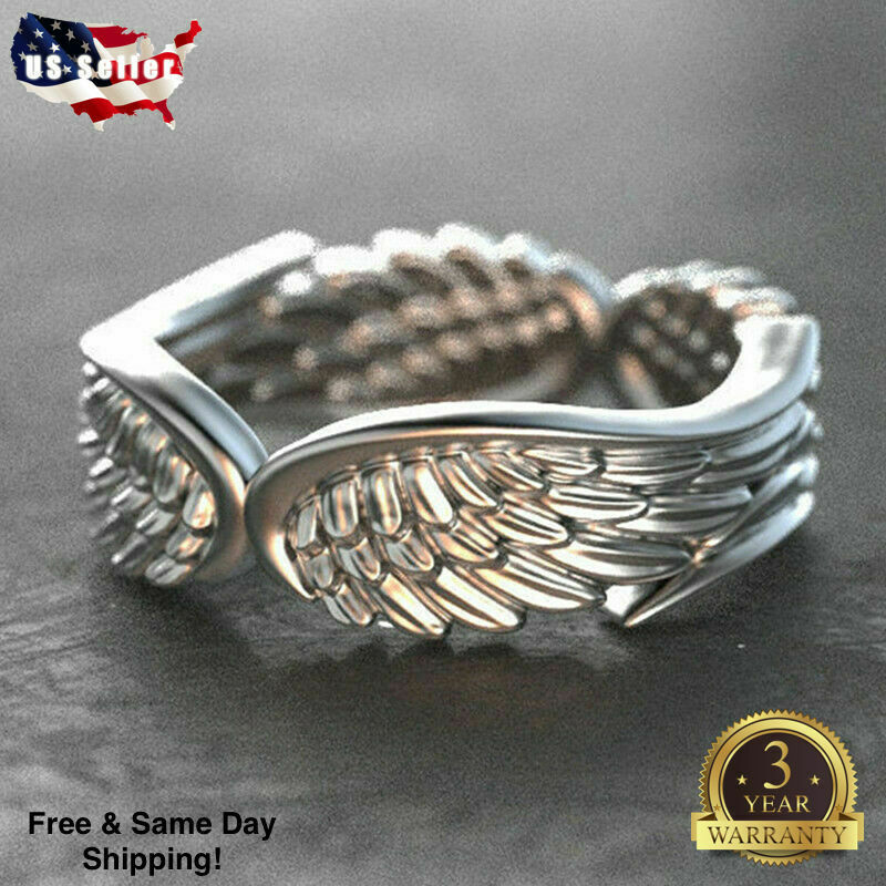 Gorgeous Angel Wings Women Wedding Rings 925 Silver Jewelry Ring Size 6-10