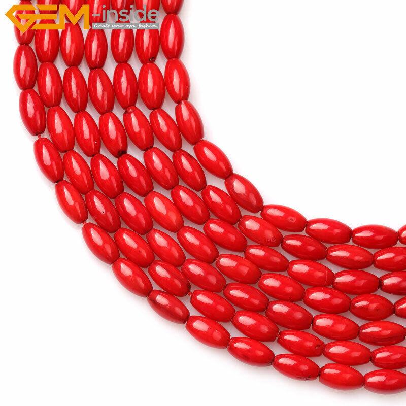 """Olivary Rice Red Coral Jewelry Making Gemstone Loose Beads Strand 15"""" Size Pick"""
